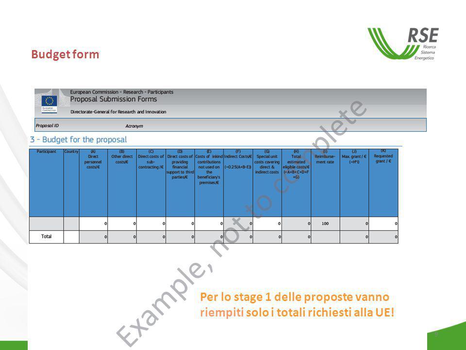 Budget form Per lo stage 1 delle proposte vanno riempiti solo i totali richiesti alla UE!