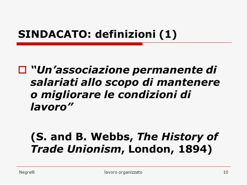 SINDACATO: definizioni (1)