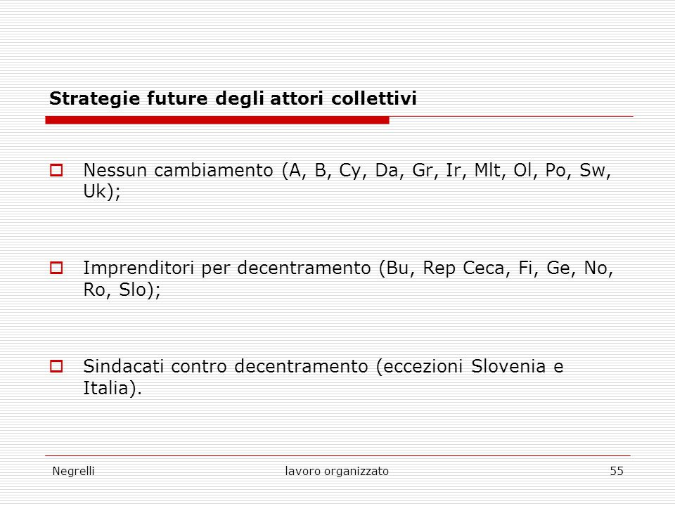 Strategie future degli attori collettivi