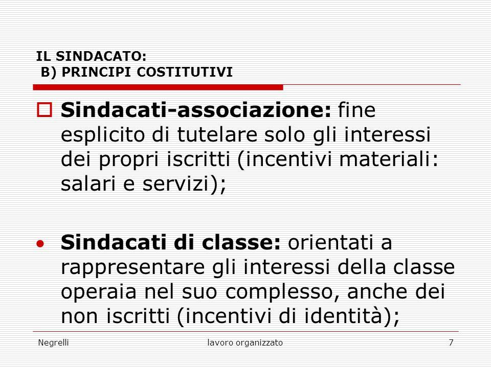 IL SINDACATO: B) PRINCIPI COSTITUTIVI