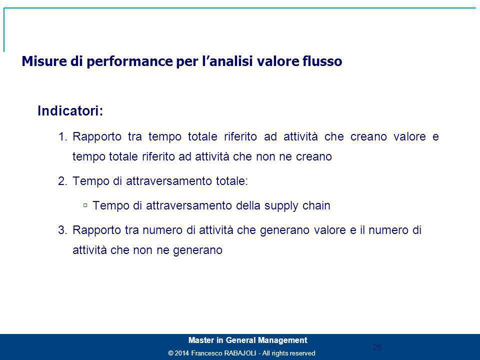 Misure di performance per l'analisi valore flusso