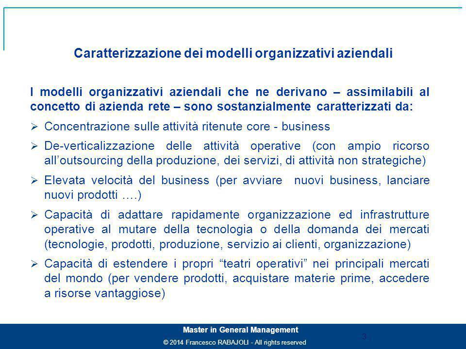 Caratterizzazione dei modelli organizzativi aziendali