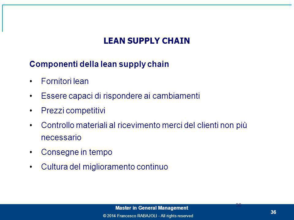 Componenti della lean supply chain Fornitori lean