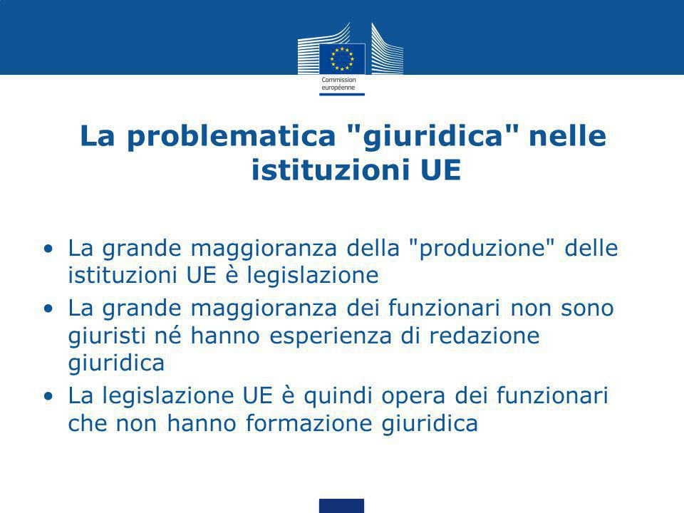 La problematica giuridica nelle istituzioni UE