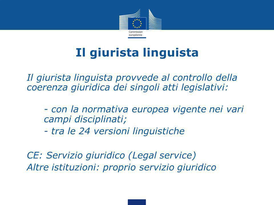 Il giurista linguista Il giurista linguista provvede al controllo della coerenza giuridica dei singoli atti legislativi: