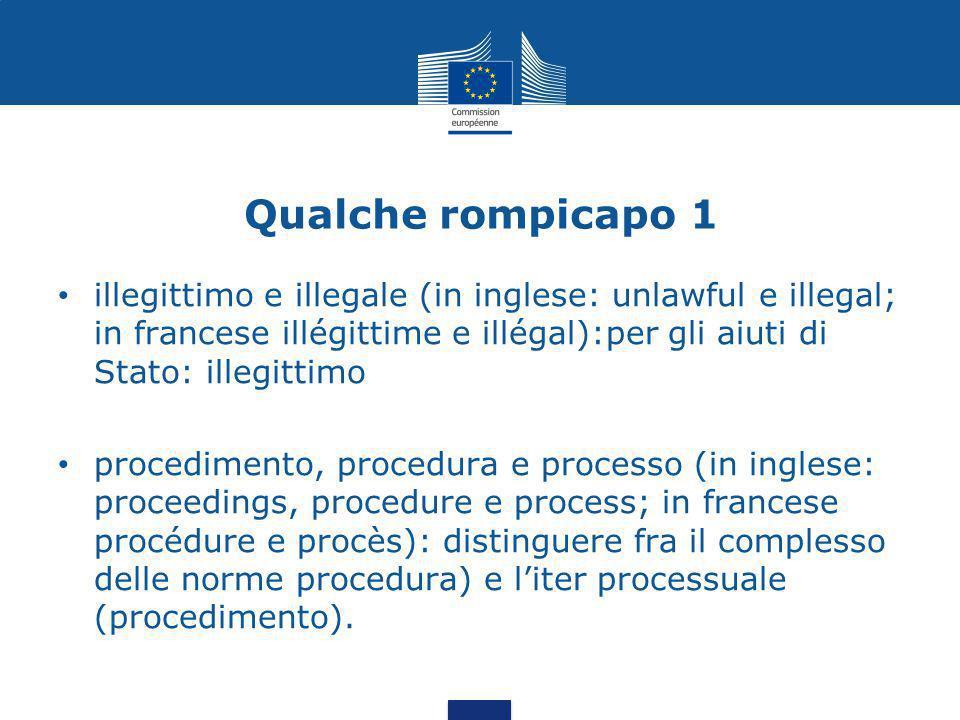 Qualche rompicapo 1 illegittimo e illegale (in inglese: unlawful e illegal; in francese illégittime e illégal):per gli aiuti di Stato: illegittimo.