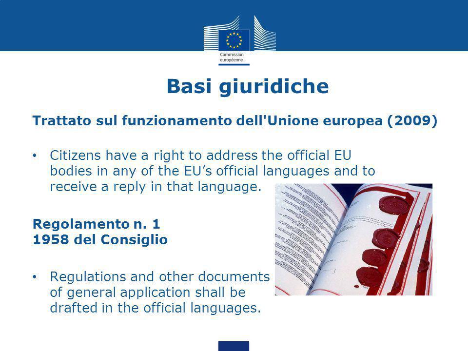 Basi giuridiche Trattato sul funzionamento dell Unione europea (2009)