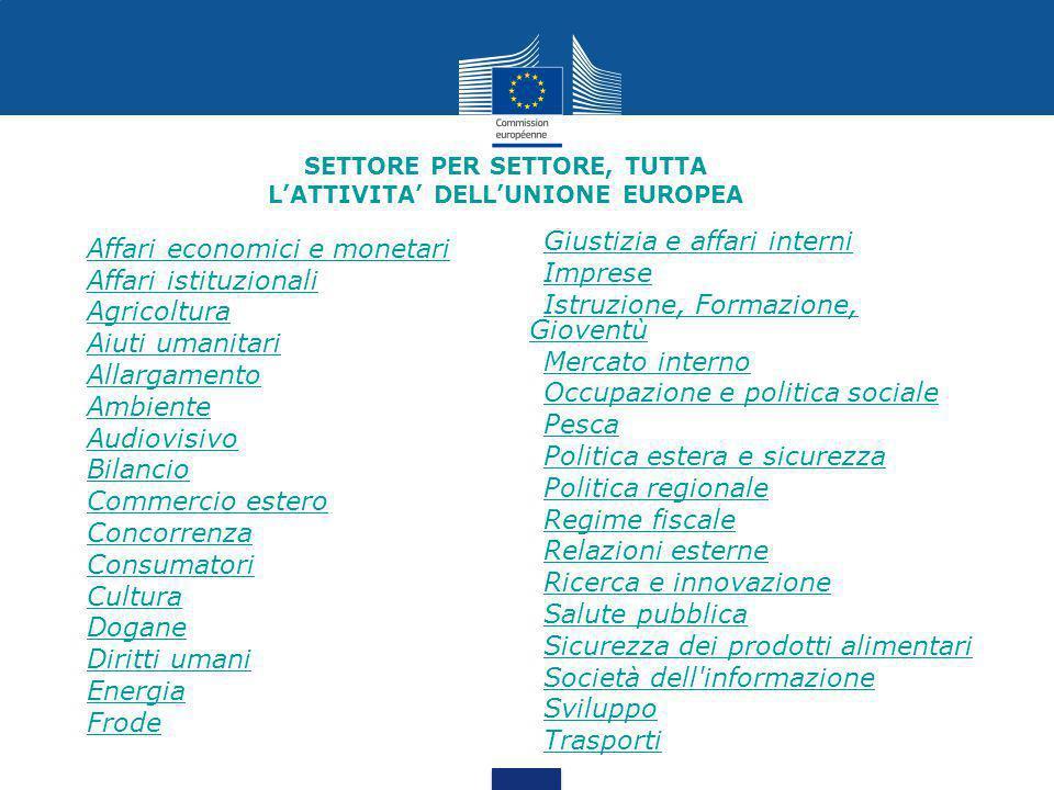 SETTORE PER SETTORE, TUTTA L'ATTIVITA' DELL'UNIONE EUROPEA