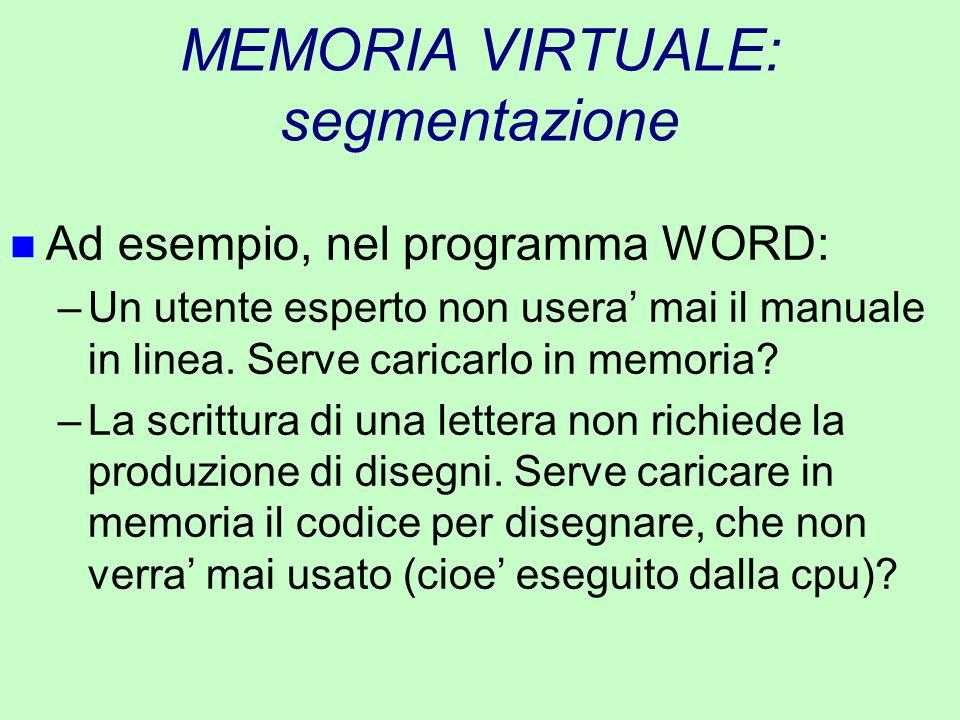 MEMORIA VIRTUALE: segmentazione