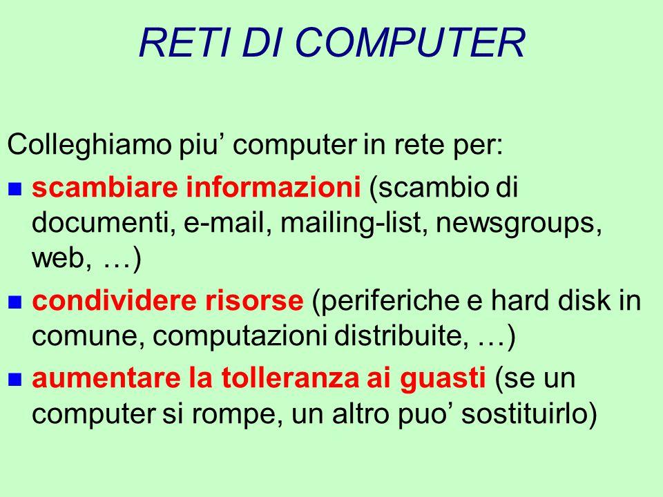 RETI DI COMPUTER Colleghiamo piu' computer in rete per: