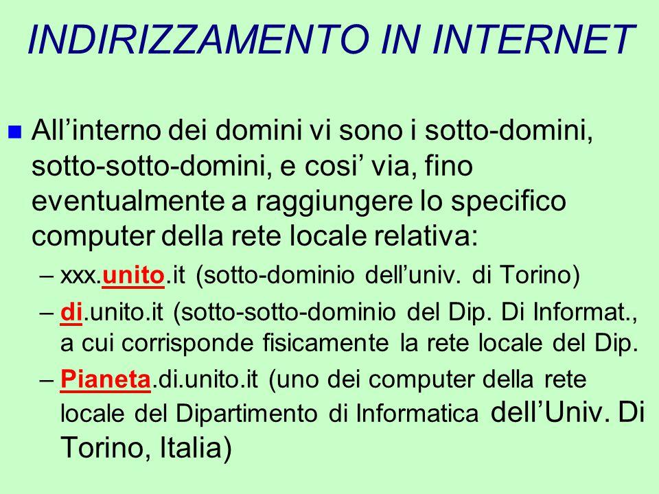 INDIRIZZAMENTO IN INTERNET