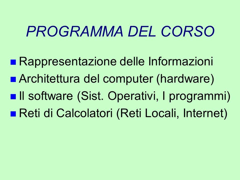 PROGRAMMA DEL CORSO Rappresentazione delle Informazioni