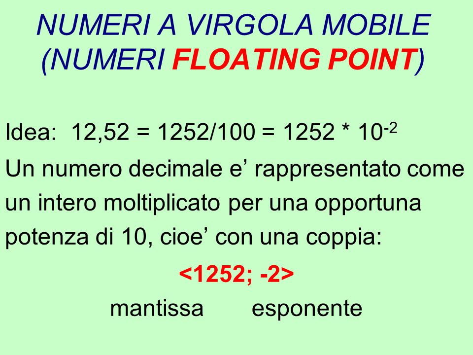 NUMERI A VIRGOLA MOBILE (NUMERI FLOATING POINT)