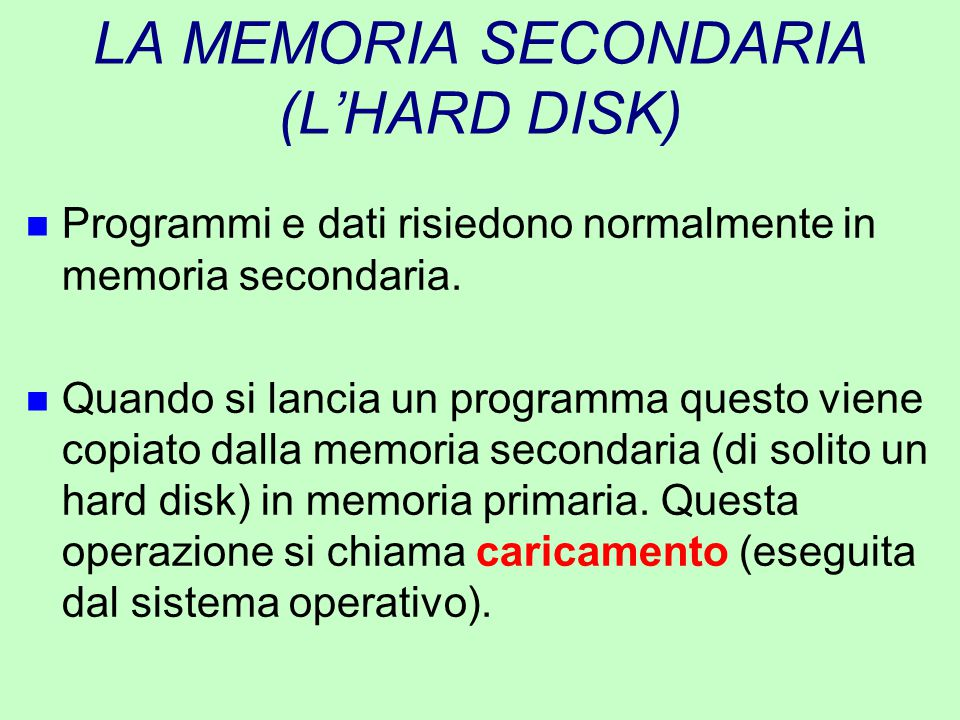 LA MEMORIA SECONDARIA (L'HARD DISK)