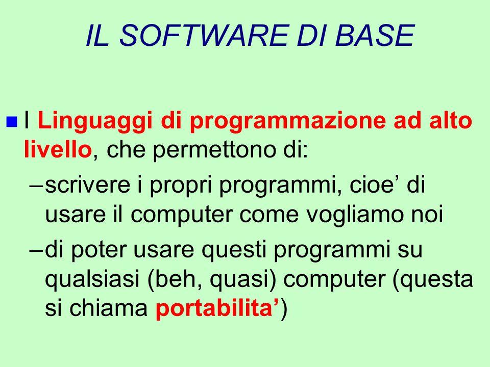 IL SOFTWARE DI BASE I Linguaggi di programmazione ad alto livello, che permettono di: