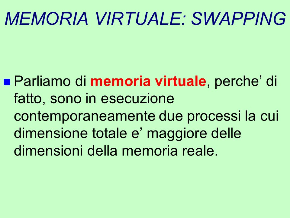 MEMORIA VIRTUALE: SWAPPING