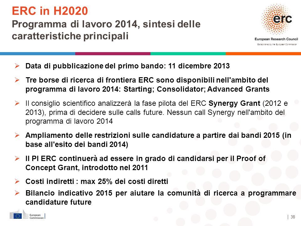 ERC in H2020 Programma di lavoro 2014, sintesi delle caratteristiche principali