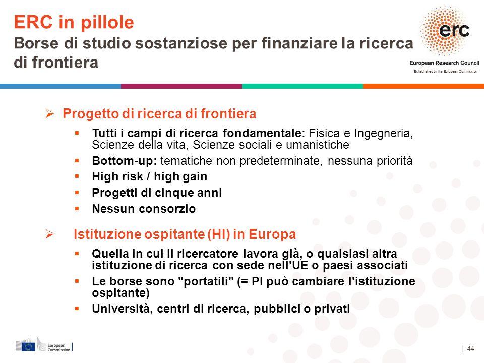ERC in pillole Borse di studio sostanziose per finanziare la ricerca di frontiera