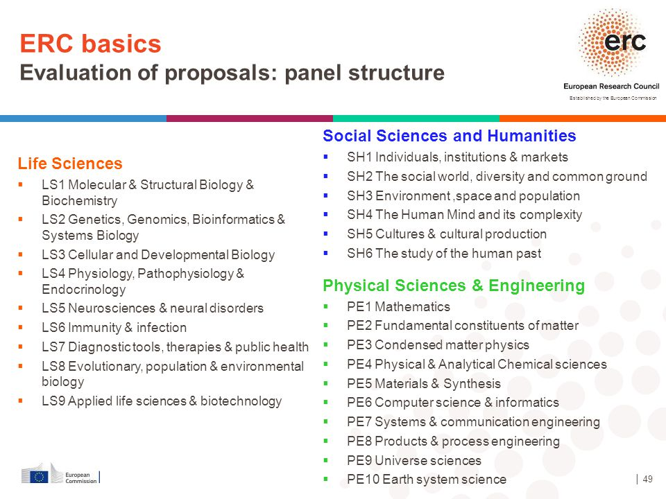 ERC basics Evaluation of proposals: panel structure