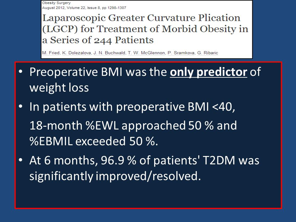 Preoperative BMI was the only predictor of weight loss