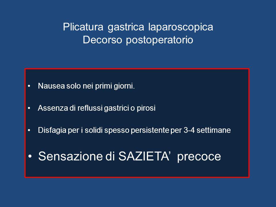 Plicatura gastrica laparoscopica Decorso postoperatorio