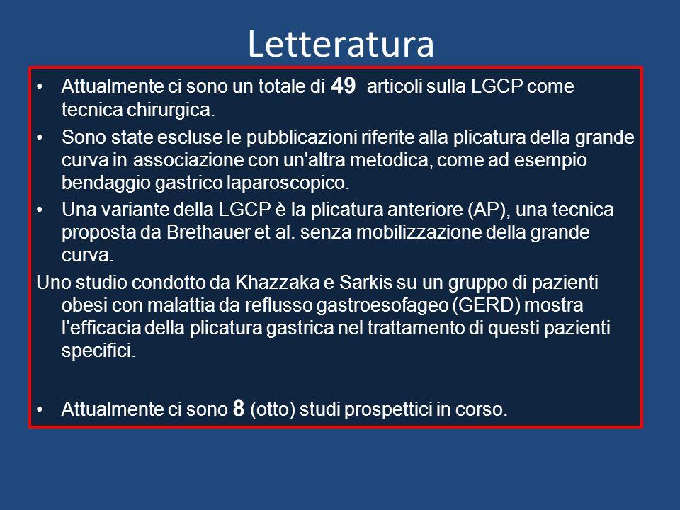 Letteratura Attualmente ci sono un totale di 49 articoli sulla LGCP come tecnica chirurgica.