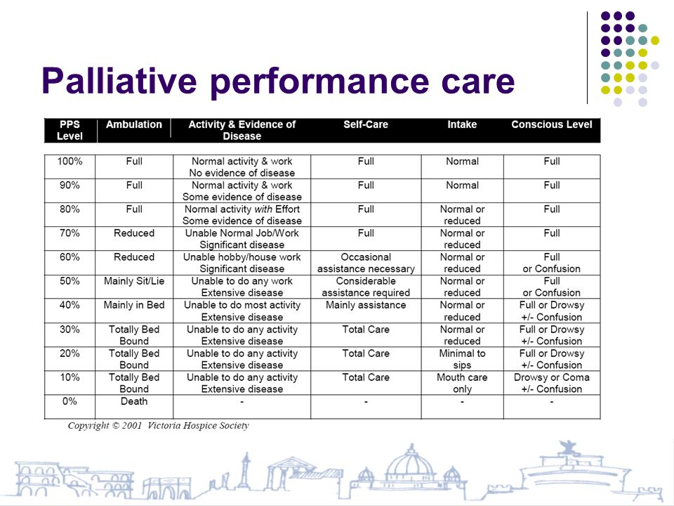 Palliative performance care
