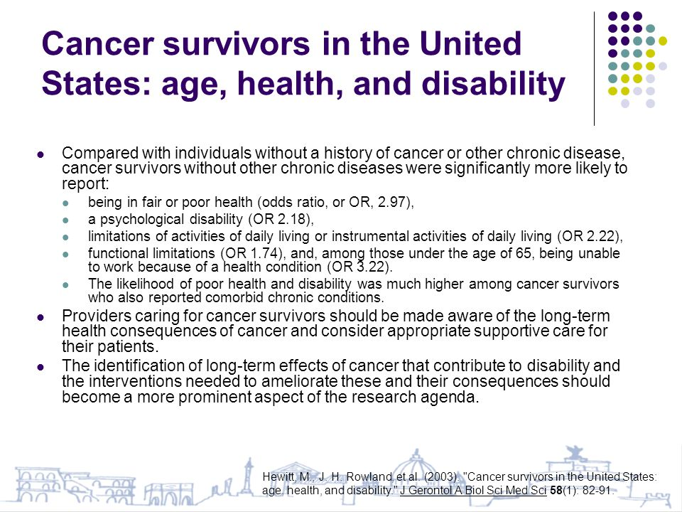 Cancer survivors in the United States: age, health, and disability