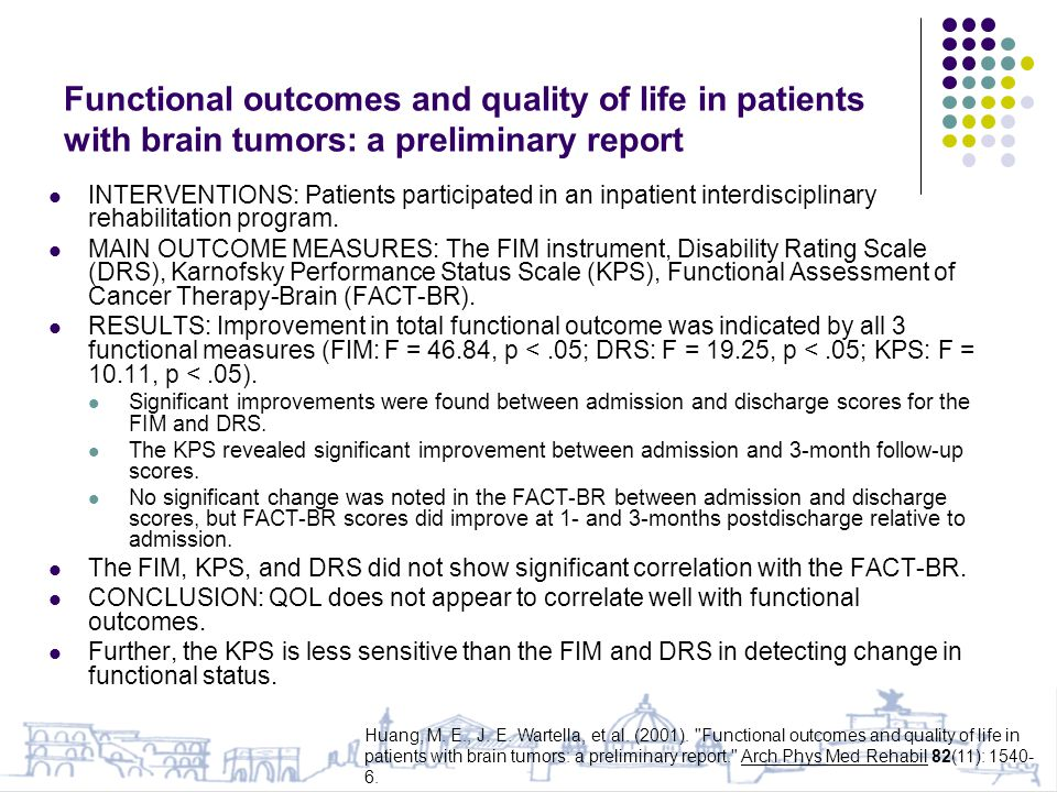 Functional outcomes and quality of life in patients with brain tumors: a preliminary report