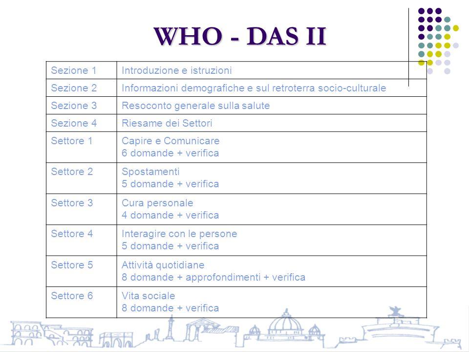 WHO - DAS II Sezione 1 Introduzione e istruzioni Sezione 2
