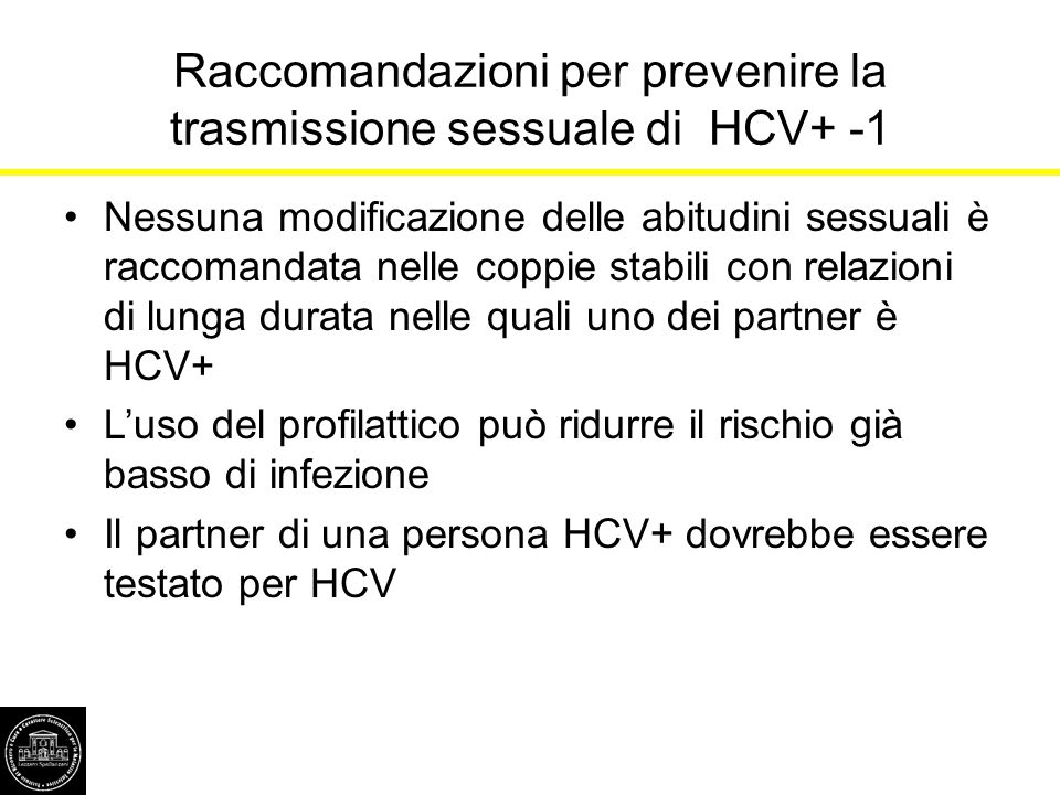 Raccomandazioni per prevenire la trasmissione sessuale di HCV+ -1