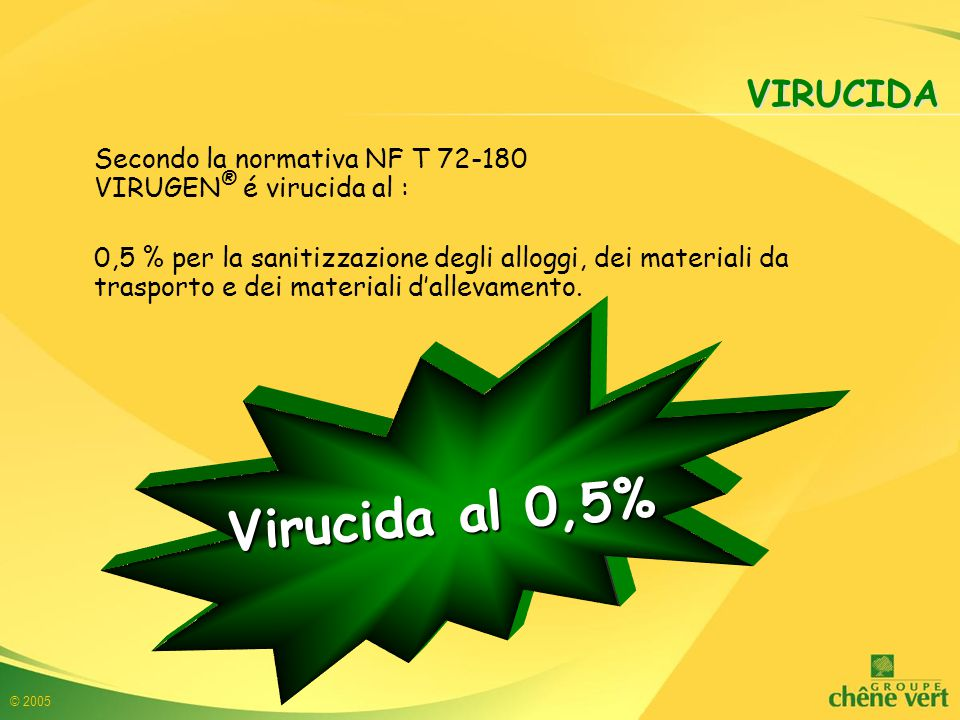 VIRUCIDA Secondo la normativa NF T 72-180 VIRUGEN® é virucida al :