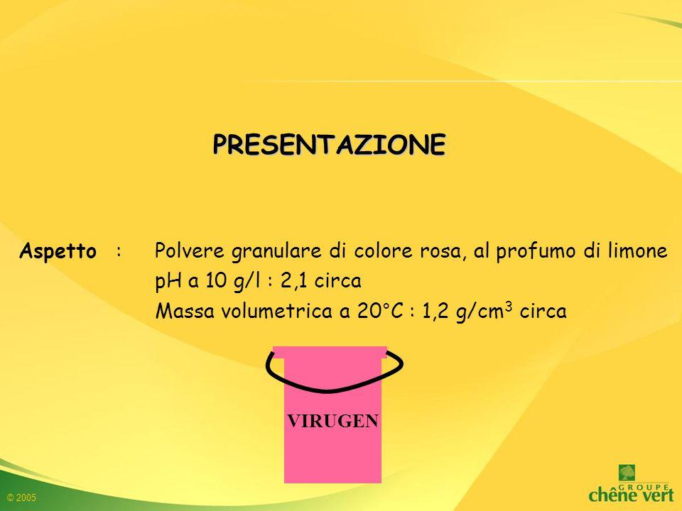 PRESENTAZIONE Aspetto : Polvere granulare di colore rosa, al profumo di limone. pH a 10 g/l : 2,1 circa.