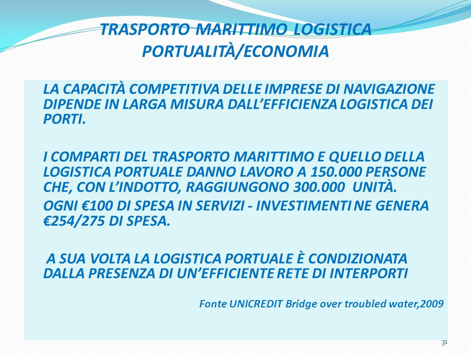 TRASPORTO MARITTIMO LOGISTICA PORTUALITÀ/ECONOMIA