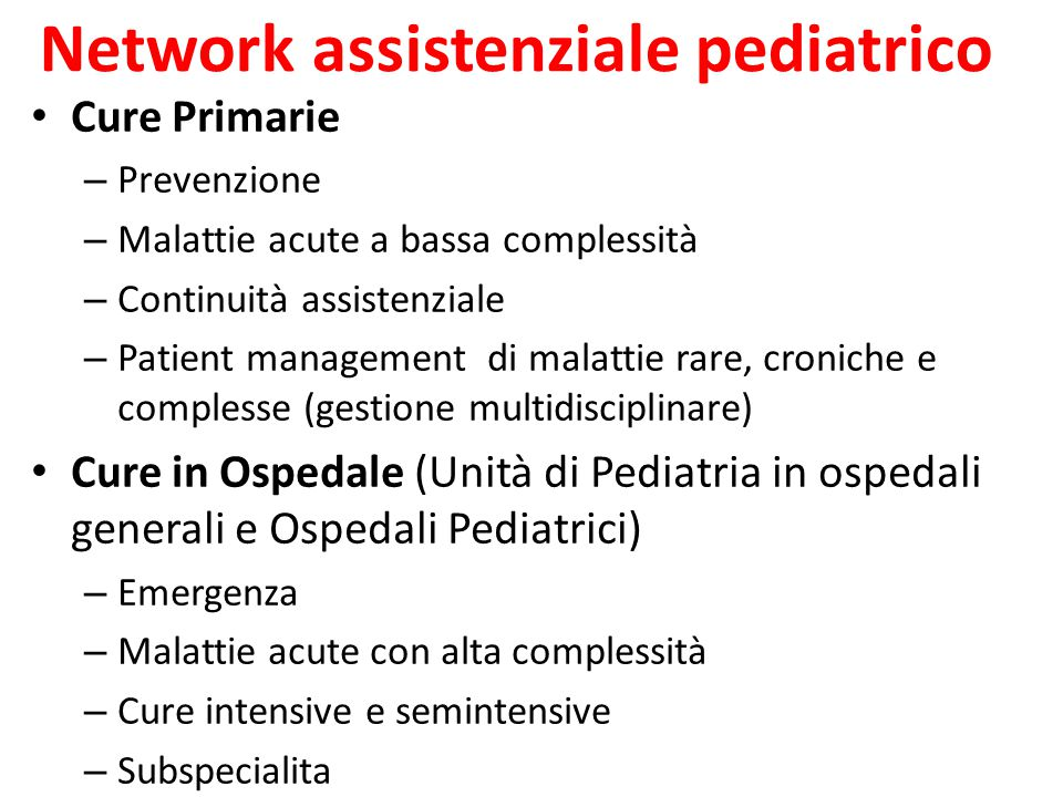 Network assistenziale pediatrico