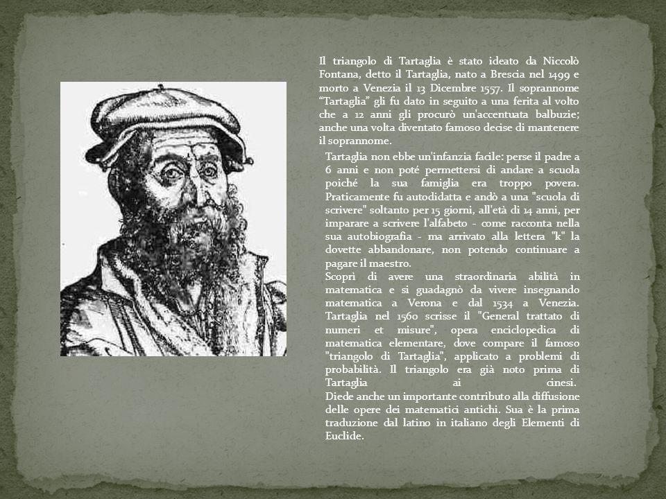 Il triangolo di Tartaglia è stato ideato da Niccolò Fontana, detto il Tartaglia, nato a Brescia nel 1499 e morto a Venezia il 13 Dicembre 1557. Il soprannome Tartaglia gli fu dato in seguito a una ferita al volto che a 12 anni gli procurò un accentuata balbuzie; anche una volta diventato famoso decise di mantenere il soprannome.