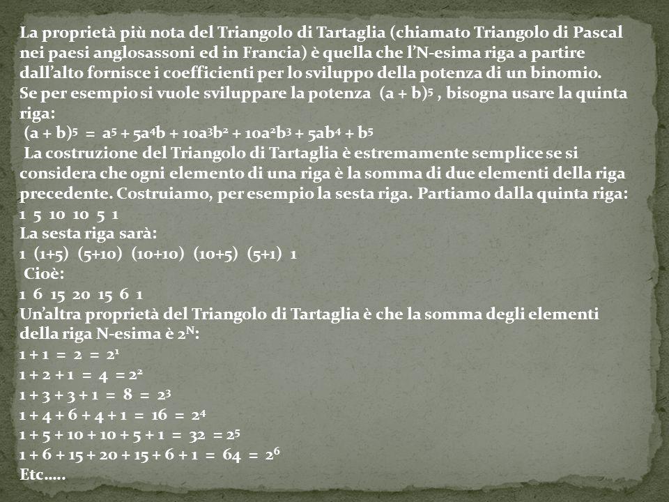 La proprietà più nota del Triangolo di Tartaglia (chiamato Triangolo di Pascal nei paesi anglosassoni ed in Francia) è quella che l'N-esima riga a partire dall'alto fornisce i coefficienti per lo sviluppo della potenza di un binomio.