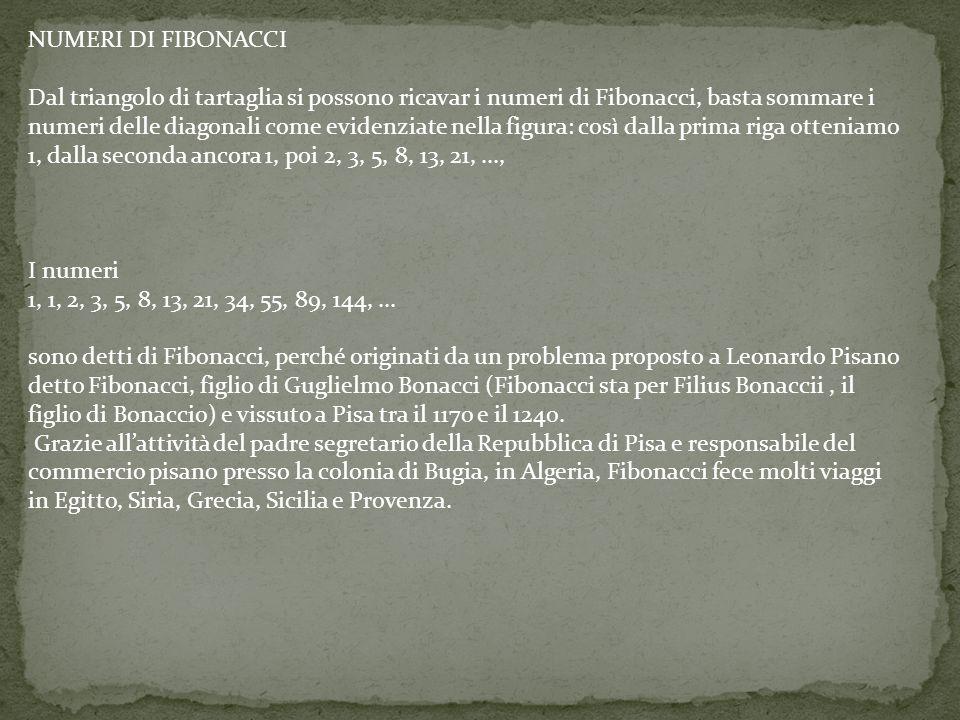 NUMERI DI FIBONACCI Dal triangolo di tartaglia si possono ricavar i numeri di Fibonacci, basta sommare i.