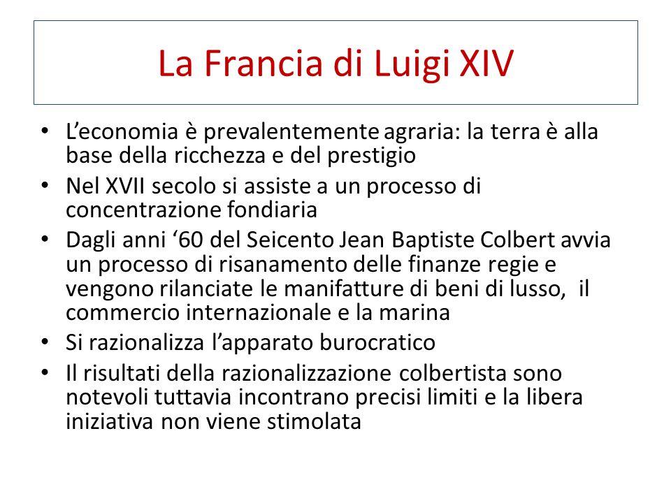 La Francia di Luigi XIV L'economia è prevalentemente agraria: la terra è alla base della ricchezza e del prestigio.