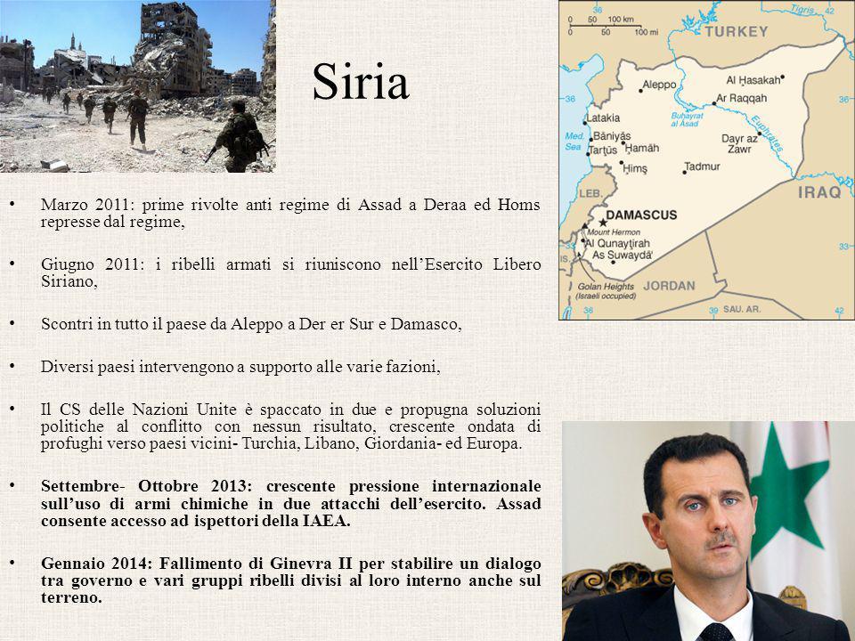 Siria Marzo 2011: prime rivolte anti regime di Assad a Deraa ed Homs represse dal regime,