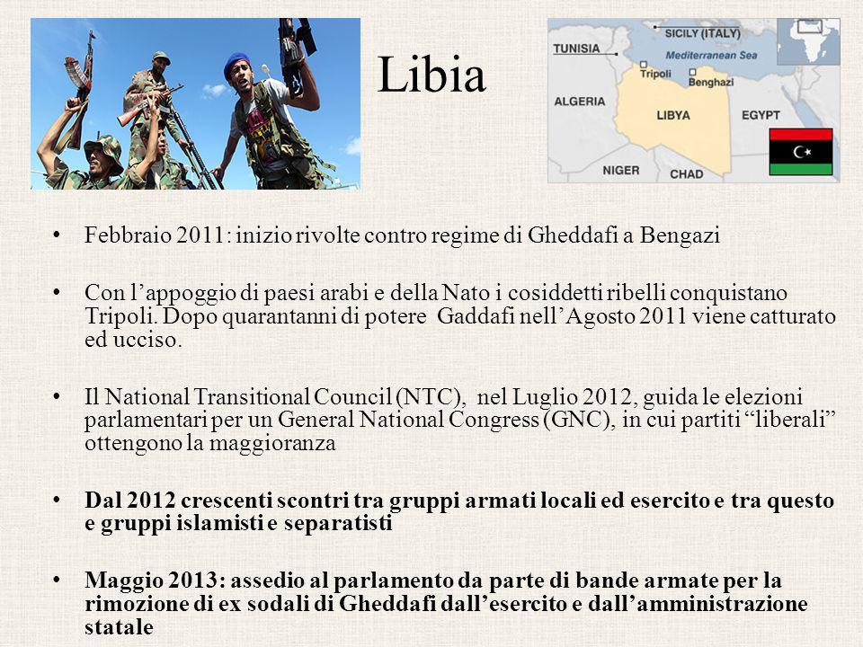 Libia Febbraio 2011: inizio rivolte contro regime di Gheddafi a Bengazi.