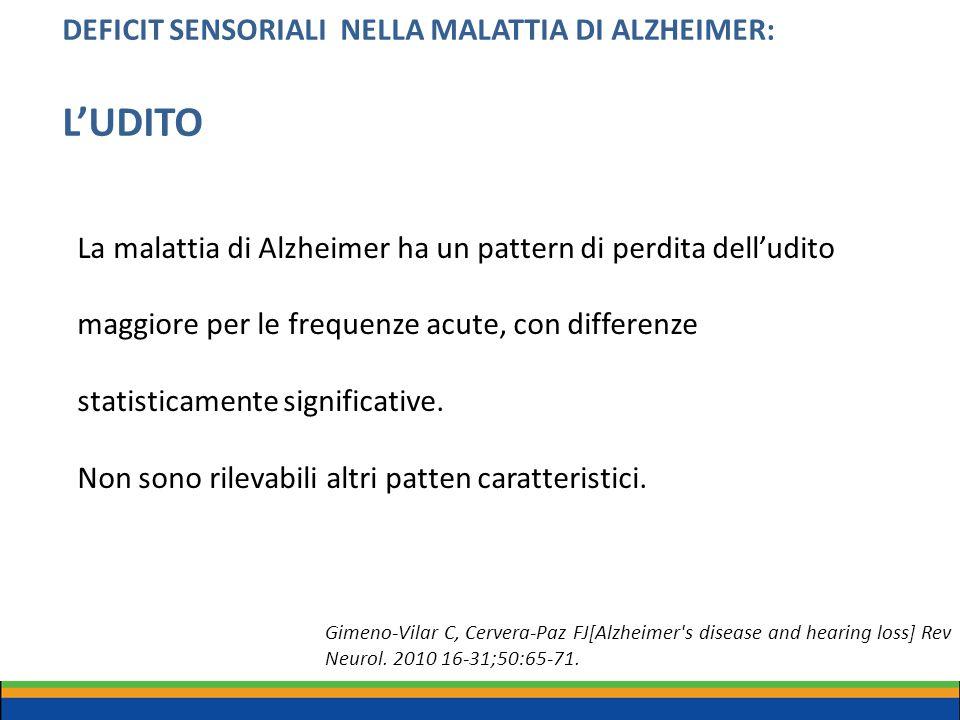 DEFICIT SENSORIALI NELLA MALATTIA DI ALZHEIMER: L'UDITO