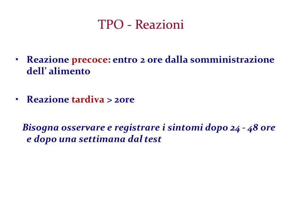TPO - Reazioni Reazione precoce: entro 2 ore dalla somministrazione dell' alimento. Reazione tardiva > 2ore.