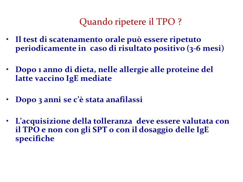 Quando ripetere il TPO Il test di scatenamento orale può essere ripetuto periodicamente in caso di risultato positivo (3-6 mesi)