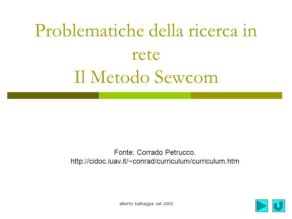 Problematiche della ricerca in rete Il Metodo Sewcom