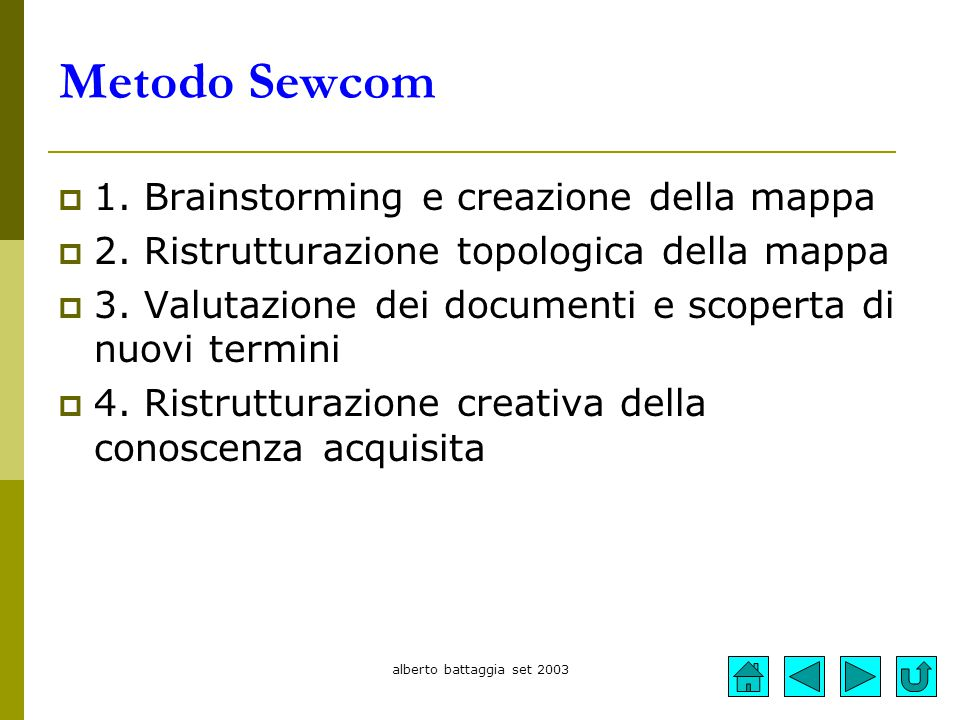 Metodo Sewcom 1. Brainstorming e creazione della mappa