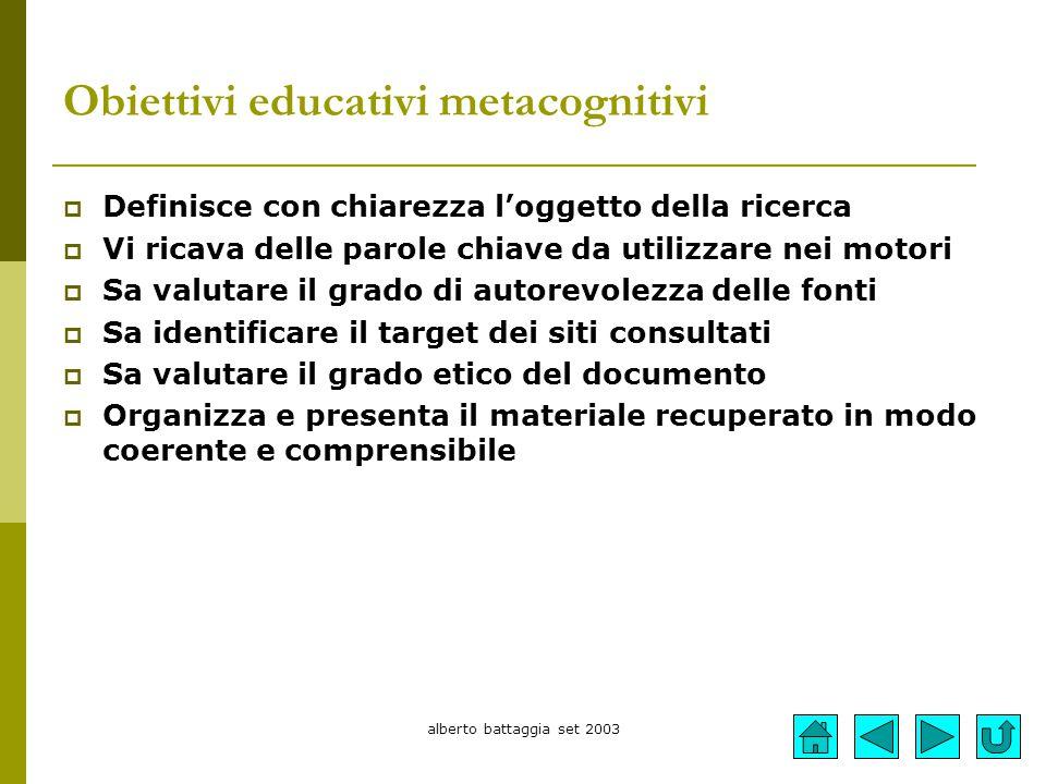 Obiettivi educativi metacognitivi