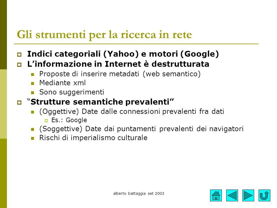 Gli strumenti per la ricerca in rete