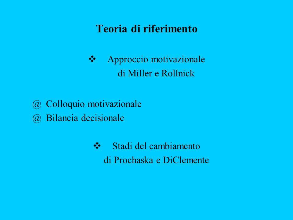 Teoria di riferimento Approccio motivazionale di Miller e Rollnick