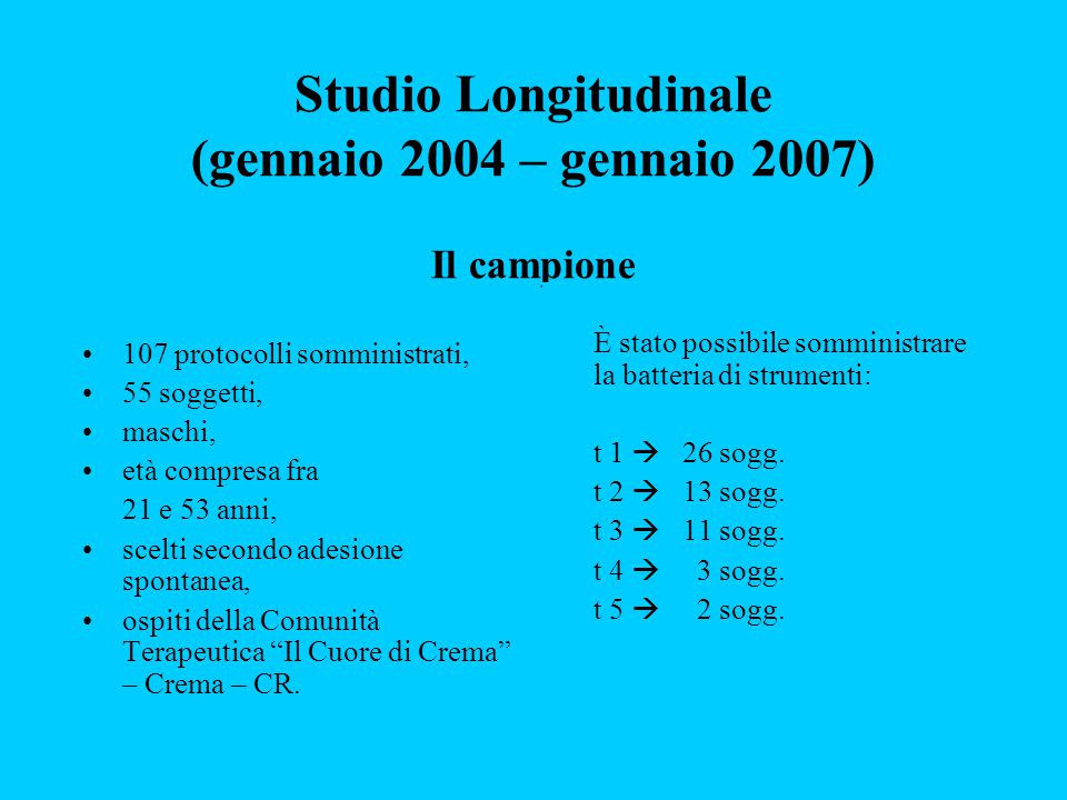 Studio Longitudinale (gennaio 2004 – gennaio 2007) Il campione